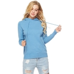 Women Round Neck Long Sleeve Pullover (Color:Blue Size:One Size)