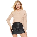 Women Winter V-Neck Pullover Sweater(Color:Khaki Size:One Size)