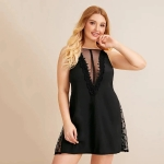 Halter Lace Nightgown (Color:Black Size:XL)