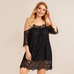 Lace Strapless Loose Pajamas Home (Color:Black Size:XL)