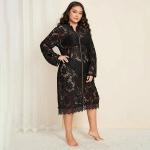 Lace Shawl Chiffon Pajamas (Color:Black Size:XL)