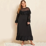 Temperament Net Yarn Splicing Long-sleeved Lace Nightgown (Color:Black Size:XL)