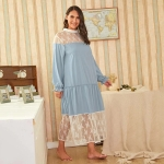 Lace Nightgown Long Section (Color:Blue Size:XL)