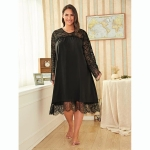 Loose Long-sleeved Round Neck Was Thin Lace Nightgown (Color:Black Size:XL)
