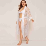 Lace Stitching Lace Shawl Long Section Of Loose Long-sleeved Pajamas (Color:White Size:XL)