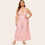 Lace Suspenders Straight Piece Pants (Color:Pink Size:XL)