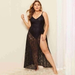 Lace Stitching Side Split Jumpsuit Shuiqun (Color:Black Size:XL)