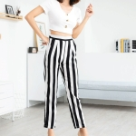 High-waist Printed Striped Wild Straight Pants (Color:Black White Size:L)