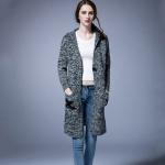 Women Winter Hooded Long Knit Cardigan (Grey)