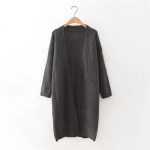 Women Winter Round Neck Knitted Mid-Length Two-Piece Sweater Skirt (Color:Dark Gray Size:One Size)