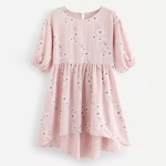 Sweet High Waist Lantern Sleeve Dress (Color:Pink Size:S)