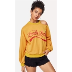 Off-the-shoulder Printed Sweatshirt (Color:Yellow Size:L)