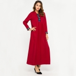 Women Embroidered Big Sleeve Loose Round Neck Long Sleeve Dress (Color:Red Size:XL)
