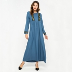Women Simple Embroidered Loose Long Sleeve Swing Dress (Color:Blue Size:M)