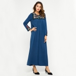 Women Embroidered Loose Round Neck Long Sleeve Dress (Color:Blue Size:L)