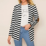Fashion Slim Long-sleeved Striped Cardigan Thin Cotton Coat (Color:Black White Size:S)
