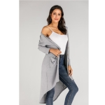 Fashion Cardigan Solid Color Knit Sweater (Color:Grey Size:S)