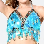Women Sequins Short Sling Performance Dance Cloth (Color:Lake Blue Size:One Size)