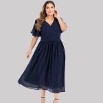 Plus Size Big Swing Dress (Color:Dark Blue Size:3XL)