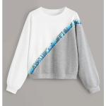 Round Neck Casual Colorblock Sweatshirt (Color:Grey White Size:S)