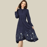 National Style Big Swing Dress (Color:Navy Blue Size:S)