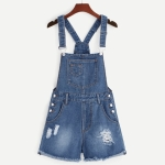 Strap Denim Shorts Jumpsuit (Color:Dark Blue Size:S)