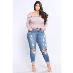Plus Sized Stretch Holes Jeans (Color:Blue Size:3XL)