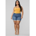 Plus Sized Fashion Stretch Denim Shorts (Color:Blue Size:L)