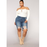 Plus Sized Ripped Denim Shorts (Color:Dark Blue Size:1XL)