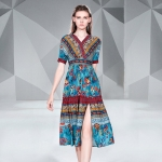 Printed Slim Mid-length Style Dress (Color:Sky Blue Size:M)