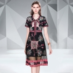 Tie-in Printed Mesh Gauze Mid-length Flowy Dress (Color:Black Size:S)