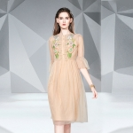 Embroidered Mesh Midi A-line Dress (Color:Apricot Size:M)
