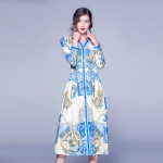 Long-sleeved Single-breasted Waist Print Dress (Color:Blue Size:S)