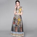 Printed Mesh Gauze High Waist Dress (Color:As Show Size:S)