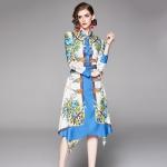 Elegant Irregular Printed Long Sleeves and Contrasting Dress (Color:Blue Size:S)