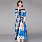 Temperament Print Waist Tie Dress (Color:Blue Size:XL)