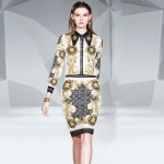 Printed Lapel Long Sleeve Shirt Package Hip Skirt Suit (Color:As Show Size:L)