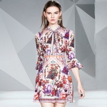 Retro-print Lace-up Flare-sleeve High-waist Dress (Color:As Show Size:S)