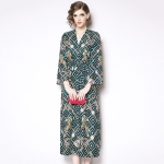 Vintage Print Loose Temperament Cardigan Dress (Color:As Show Size:L)