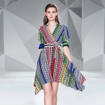 Printed Waist Slim Irregular Dress (Color:As Show Size:XL)