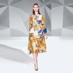 Fashion Slimming Waist Print Dress (Color:Yellow Size:L)