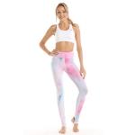 Women Print High Waist Yoga Tights (Color:Pink Size:XL)