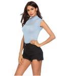 Sexy Patchwork Shirt (Color:Blue Size:L)