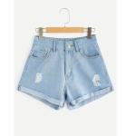 Casual Faction Denim Shorts (Color:Baby Blue Size:S)