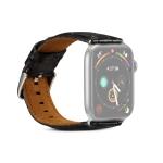 Denior Crocodile Grain Watch Cowhide Leather Strap for Apple Watch Series 5 & 4 40mm / 3 & 2 & 1 38mm (Black)
