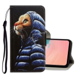 For Galaxy A51 3D Colored Drawing Horizontal Flip PU Leather Case with Holder & Card Slots & Wallet(Down Jacket Cat)