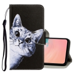 For Galaxy A71 3D Colored Drawing Horizontal Flip PU Leather Case with Holder & Card Slots & Wallet(Curious Cat)