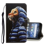 For Nokia 3.2 3D Colored Drawing Horizontal Flip PU Leather Case with Holder & Card Slots & Wallet(Down Jacket Cat)