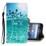For Nokia 3.2 3D Colored Drawing Horizontal Flip PU Leather Case with Holder & Card Slots & Wallet(Coconut Tree)