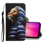 For Xiaomi Redmi Note 8T 3D Colored Drawing Horizontal Flip PU Leather Case with Holder & Card Slots & Wallet(Down Jacket Cat)